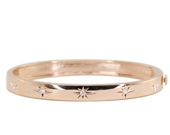 Micro Pave Star Cubic Zirconia 14 Kt Yellow Rose Or White Gold Vermeil Sterling Silver Bangle Bracelet