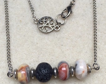 Lava bead and agate necklace for use with essential oils