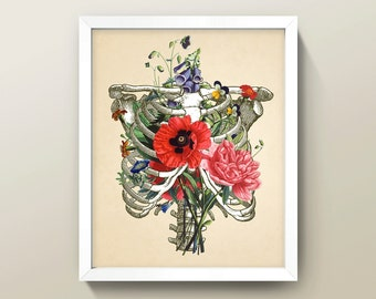Rib Cage & Flowers Collage • 8x10 Wall Art / Print • High Quality Giclée Print