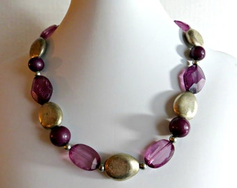 Beaded Necklace Vintage Purplle Jewelry