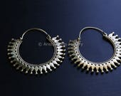 Tribal hoops, Brass hoops, Tribal Hoops, Ethnic earrings, Tribal Jewelry, Tribal Earrings