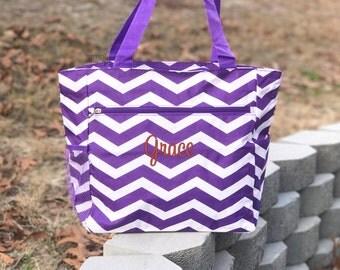 Purple Tote Bag, Personalized Tote Bag, Purple Canvas Bag, Monogrammed Bag, Purple Diaper Bag, Bridesmaid gift, Personalized Beach Bag
