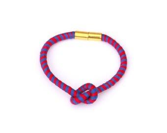 Red And Blue Friendship Bracelet, Colorful Summer Cotton Bracelet, Textile Bracelet, Small Knot Bracelet, Knotted Fiber Bracelet
