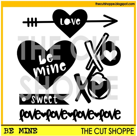 The Be Mine cut file set includes 5 love themed images, that can be used on your scrapbooking and papercrafting projects.