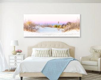 Oversized Panorama, Desert Sunset, New Mexico Home Decor, White Sands Photo On Canvas, Yucca , Fine Art Photography, Southwest Dunes Art