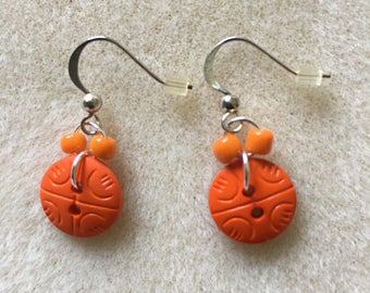 Orange Button Dangle Earrings
