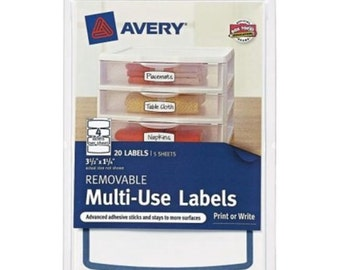 """IDENTIFICATION  Labels AVERY REMOVABLE Multiuse 41446 Blue Border 3-1/2"""" x 1-1/4"""" Pack of 20  rectangle shape and blue border 2B5A"""