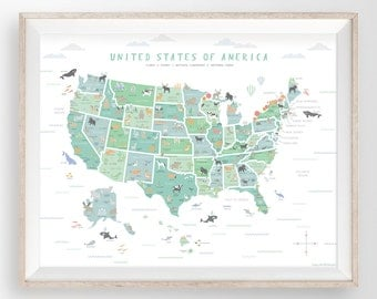 Usa Map Print Etsy - Map of the us poster size