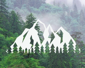 Mountain Tree Decal, Mountain Tree Range Decal, Adventure Decal, Nature Decal, Car/Laptop/MacBook Decal Tree Mountains Sticker