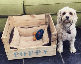 Personalised Wooden dog bed, can be used by cats and dogs.