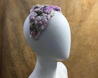 50s Fascinator Lavender Casque Velvet Flowers // Vintage Lilac Purple Headband Retro Wedding Hat