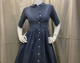50s Shirtdress Blue Villager 1950s Shirt Dress // Full Skirt Short Sleeve Collar Retro Rockabilly Dress