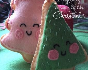 Felt Christmas tree ornament, ornament, felt toy, Christmas, handmade, sewing, sewn, hanging decoration, Christmas  decoration, tree