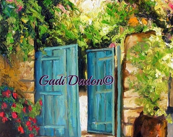 Garden Print/Botanical Print/Garden At Tsfat /Blue Gate /Canvas Print/Fine Art Print/Gate/Gardern Wall Art/Gardens/Israeli Artist