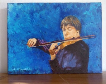 Original Oil Painting Small Canvas Violinist violin Art