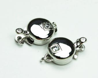 1pc 925 Sterling Silver Jewellery findings Cubic Zirconia Box Clasp,14*8.5mm - FDSSCS0106