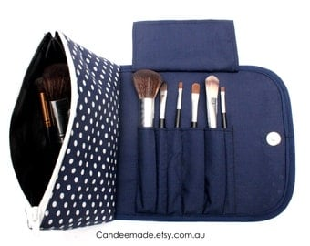Blue Spotty Large Makeup Bag with a Brush Holder Flap and Magnetic Button.
