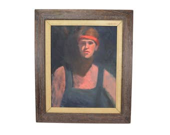 Vintage 1980s Oil Painting Portrait of Young Man with Headband Chicago Artist Behnke