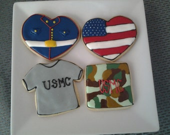 US Marine Themed Appreciation Cookies