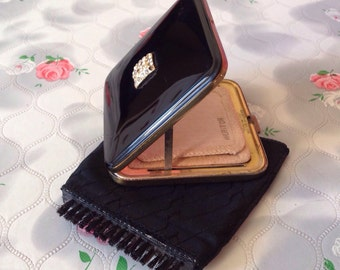 Wiper compact Vintage powder compact miraclean self cleaning vintage compact Meritor compact mirror wipe compact black gold 1950s compact