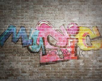Graffiti Brick GBW010 - Graffiti Brick Music 6 on Glare Free Vinyl 7' wide by 5' tall