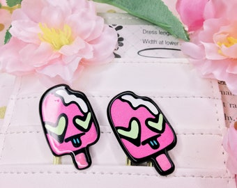 Silly Kawaii Retro Popsicle Cabochons - Planner Clips