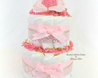 Pink and Gold Diaper Cake, Pink and Gold Baby Shower, Pink and Gold Centerpiece, Baby Girl Shower Gift, Diaper Cake, washcloth flower
