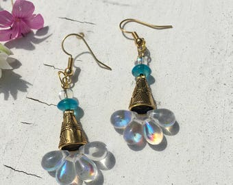 Crystal Eyes Earrings- 14kt Gold, Crystal, and Czech Glass