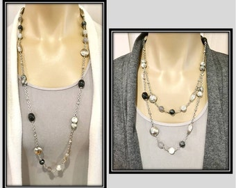 Long Beaded Necklace, Beaded Necklace Handmade, Long Necklace, Beaded Jewelry, Gemstone Necklace, Adjustable, 36 Inch Necklace