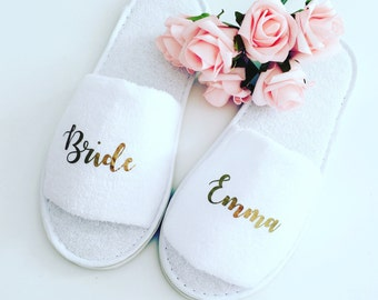 Personalised wedding slippers, bridal party slippers, bride slippers, bridesmaid slippers, wedding slippers, bridal slippers, spa hen weeken