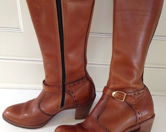 Vintage whiskey colored tall leather riding boot- size  7 1/2 - campus boot