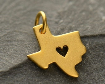 Gold Vermeil Texas Charm. 24K Gold Plated Sterling Silver Texas