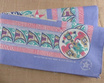 80s Bandana Handkerchief Muted Pastels Southwestern Head Scarf Native Inspired Print