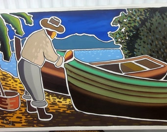 Large Oil on Canvas/Man and Rowboats/Signed