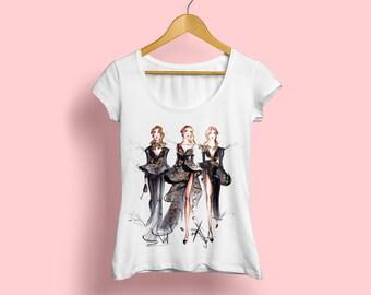 Fashion Tshirt, Designer Tshirt, Illustrated Tshirt, Printed Tshirt, Graphic Tshirt, Fashion illustration, Fashionista, Tshirt, Fashion tee