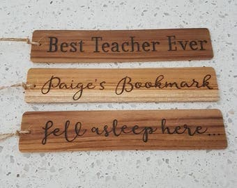 Personalised wooden bookmark - Teacher gift - Mother's/ Father's Day - Wedding favours / place cards