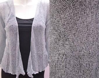 Boho chic crochet style knit shrug cardigan Grey onesize 10 12 14 16 18 20