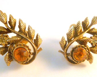 Vintage Large Curved Leaf Clip On Earrings By Jewelcraft.