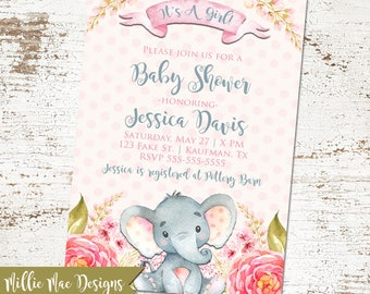 SALE 25% OFF Watercolor Elephant Baby Shower