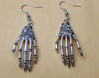 Silver Skeleton Hands Earrings jewelry - Day of the Dead Skull earring