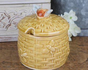 vintage honey pot with Bee on the lid, glazed ceramic