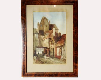 Antique Original Watercolor Painting Signed A. Fournier 1883 - Village Scene - XIXth Century