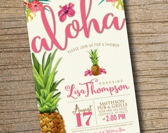Pineapple Bridal Baby Shower Invitation, Aloha Tropical Bridal Baby Shower, Pineapple Invitation, Aloha Invite Printable Digital File