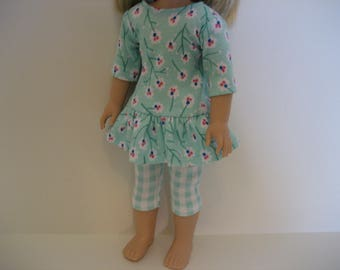 14.5 Inch  Doll Clothes - Soft Aqua Print Dress Outfit made to fit dolls such as the Wellie Wishers doll clothes