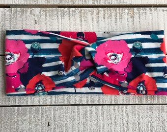 Floral Turban Headband, Wide Headband, Twist Headband