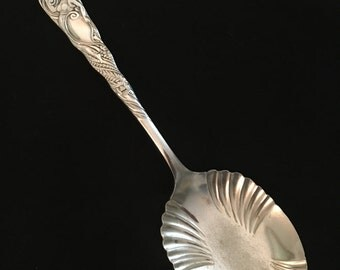 Antique Rogers Bros A1 Siren Silverplate Serving Spoon 1891 Figural