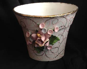 Lefton Vintage Handpainted Flower Pot