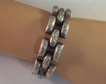 Art Deco Sterling Panther Link Bracelet, Etched Flowers, Hidden Clasp, Heavy 97 Grams