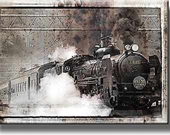 Steam Train Picture On Stretched Canvas, Wall Art Decor, Ready To Hang!