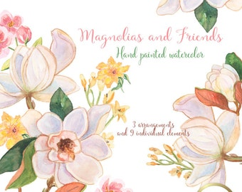 Magnolias and Friends design kit, images watercolor hand painted PNG transparent background  Instant Download for blog cards invitations